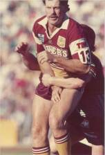 Gene Miles in action for the Broncos. He started his senior career with Souths in Townsville.
